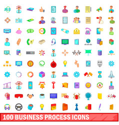 100 business process icons set cartoon style vector