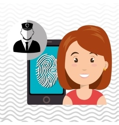 Woman smartphone password vector