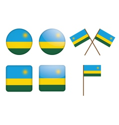 badges with flag of Rwanda vector image
