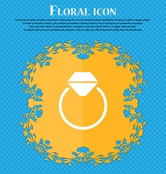 Diamond engagement ring icon sign Floral flat vector image