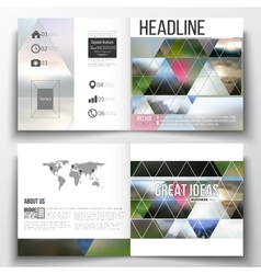 Set of square design brochure template abstract vector