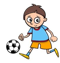 Boy playing ball cartoon vector