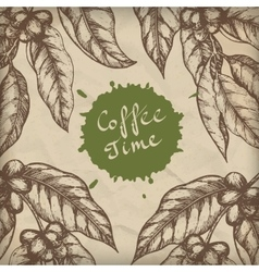 Coffee design template Coffee branch engraving vector image