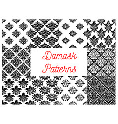 Damask floral ornate patterns set vector