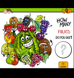 Counting fruits educational activity vector