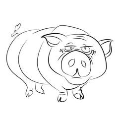 Cartoon image of huge pig vector