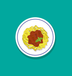 spaghetti bolognese isolated on white vector image