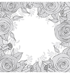Monochrome frame of flowers vector