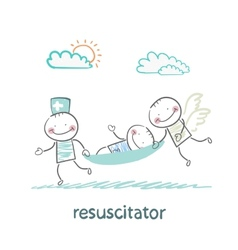 Resuscitator carry on a stretcher patient vector