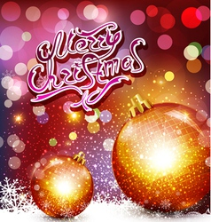 christmas background with greeting inscription and vector image