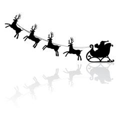 santa and deers vector image