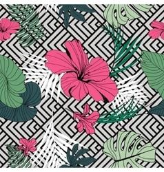 tropical seamless pattern geometric black vector image