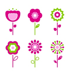 Retro flower elements vector