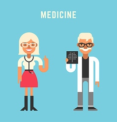 Medicine concept male and female cartoon vector