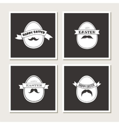Happy hipster easter - set of stylish eggs cards vector