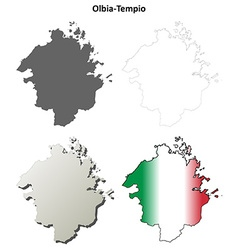 Olbia-tempio blank detailed outline map set vector