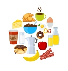 Breakfast icons flat set vector
