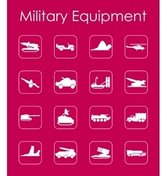 Set of military equipment simple icons vector