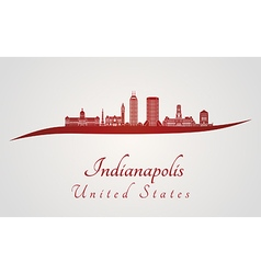 Indianapolis skyline in red vector