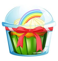 A container with a cupcake inside decorated with a vector image vector image