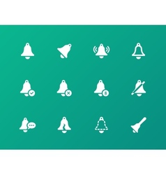Alarm bell icons on green background vector image vector image