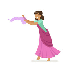 beautiful indian woman in a purple sari dancing vector image vector image