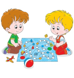 Boys playing with a boardgame vector