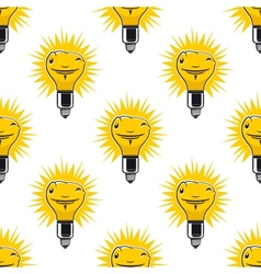 Bright cartoon light bulbs seamless pattern vector image