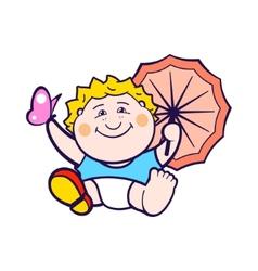 Child with umbrella vector