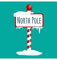 christmas icon north pole sign with snow and ice vector image