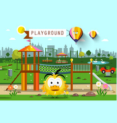 City park with hot air balloons skyline vector
