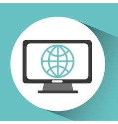 Computer device globe network icon vector