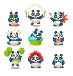 Cute panda emotions and activities collection with vector