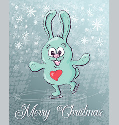 cute rabbit skates christmas background vector image