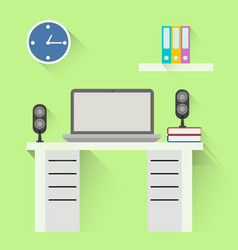 desktop flat design office interior vector image