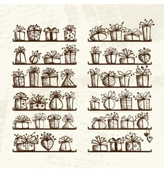 Gift boxes on shelves sketch drawing for your vector image vector image
