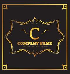 Golden logo template elegant flourishes vector
