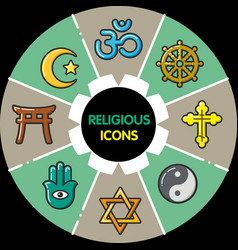 Infographic set of religious icons vector