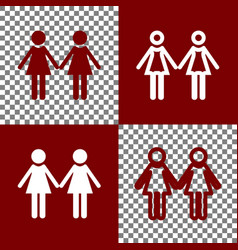 Lesbian family sign bordo and white icons vector
