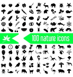 One hundred nature theme icons set eps10 vector