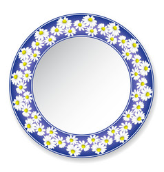 Plate with daisies vector