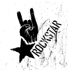 rockstar symbol with rock on gesture vector image vector image