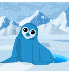 Sea lion on a winter background vector