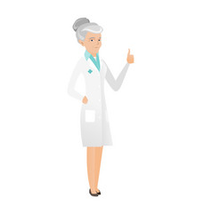 Senior caucasian doctor giving thumb up vector