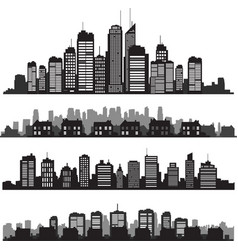 Set of cities silhouette and buildings vector