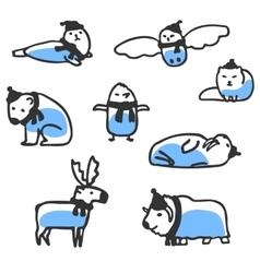 Set of cute arctic animals doodles vector
