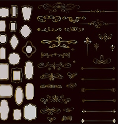 Set of design elements frames and page decor vector image vector image