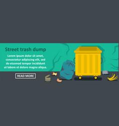 Street trash dump banner horizontal concept vector