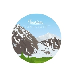 Tourism landscape circle icon with mountains vector image