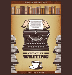 Vintage colored writer poster vector